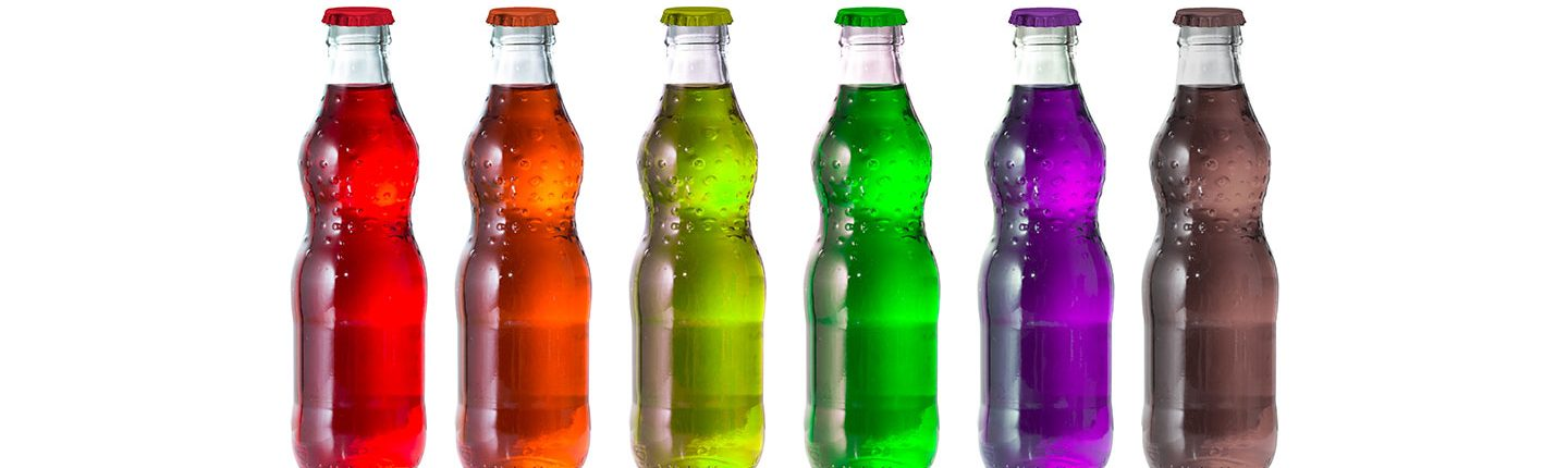 A row of colorful drink bottles.