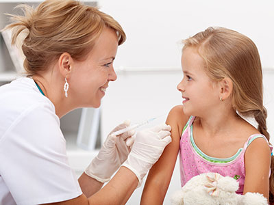 Little girl getting a vaccine