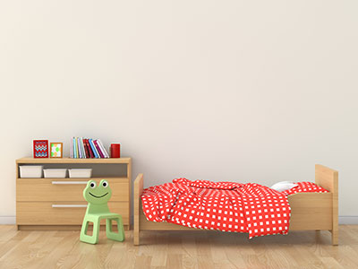 a kid's bed and dresser-