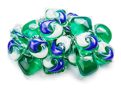 pile of liquid laundry detergent pods
