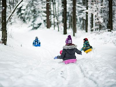 Children sledding in winter forest