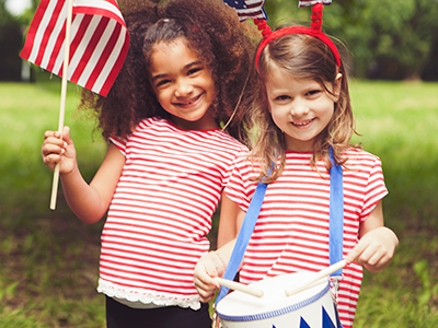 little girls celebrating independence day