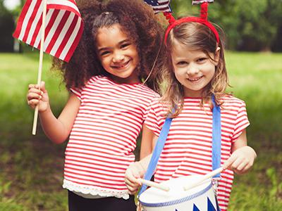 little girls celebrating independence day