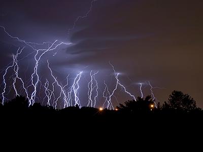 lightning over trees