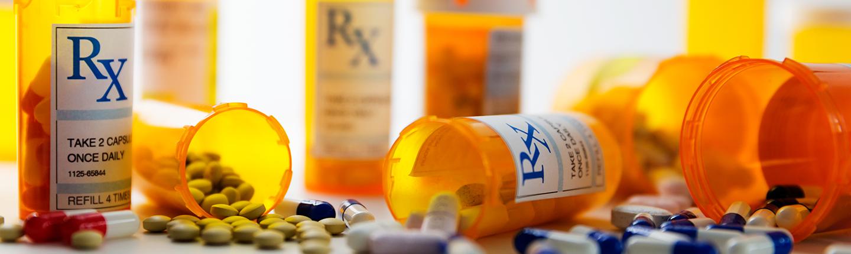 perscription pill bottles and pills