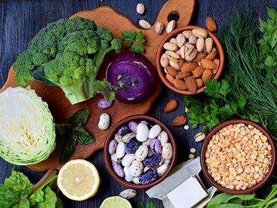healthy vegetables and nuts