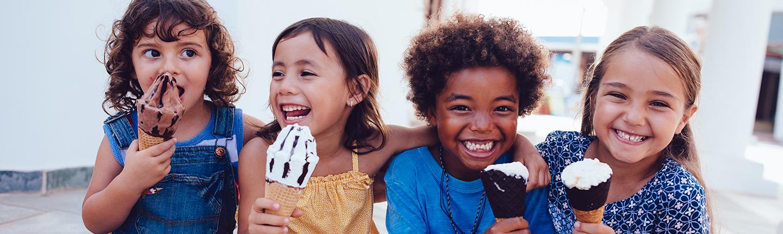 group of kids eating ice cream