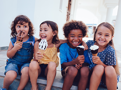 group of kids eating ice cream