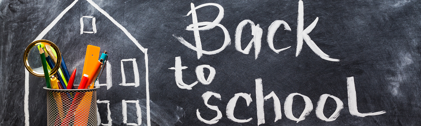 back-to-school written on a chalkboard