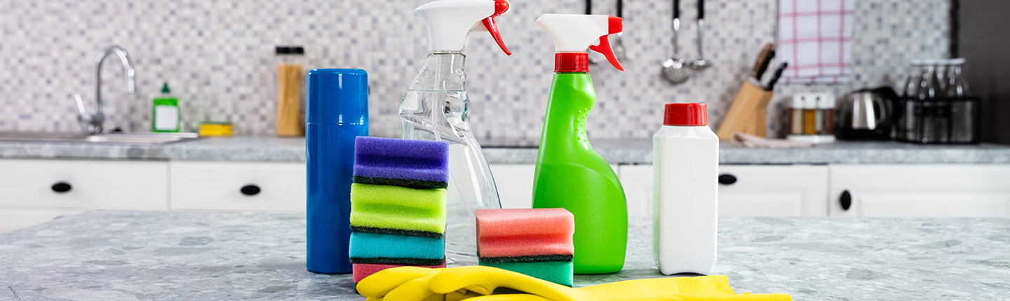 cleaning products on kitchen counter