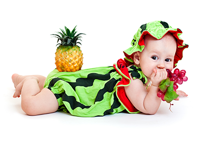 baby dressed as a watermelon
