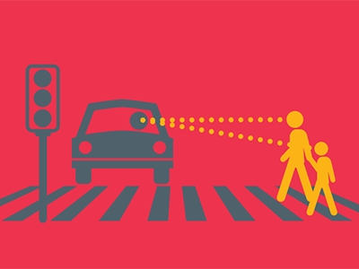 pedestrian and bike safety illustrations