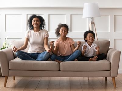 family meditating