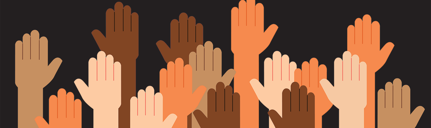 illustration of multiracial raised hands