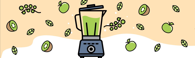 illustration of blender with foods