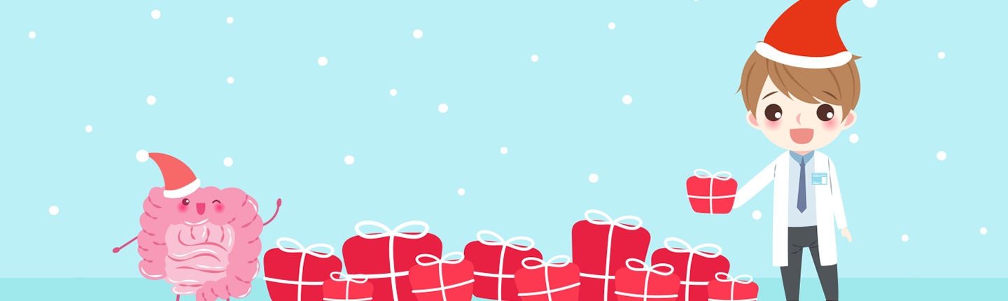 Holiday illustration with animated intestine