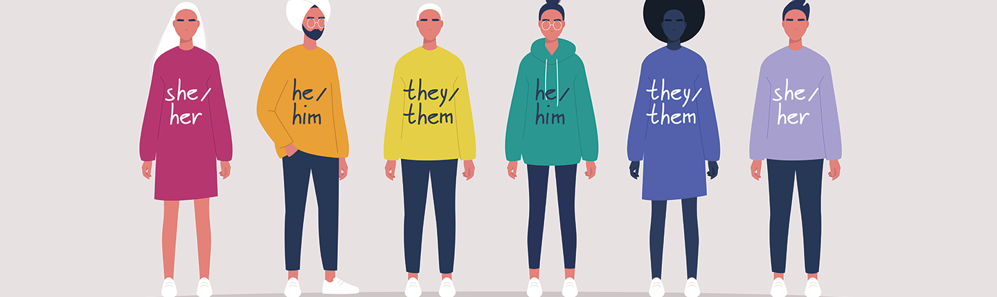 young people wearing sweaters with their gender pronouns