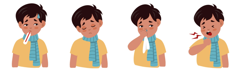 cartoon boy showing symtoms of RSV
