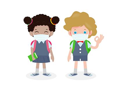 school children with vaccine bottle