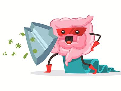cartoon of gut fighting viruses