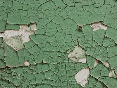 peeling green lead paint