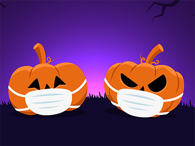 pumkins wearing masks